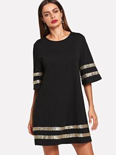 Sequin Contrast Tunic Dress
