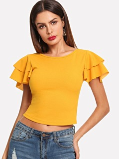 Criss Cross Back Layered Flutter Sleeve Tee