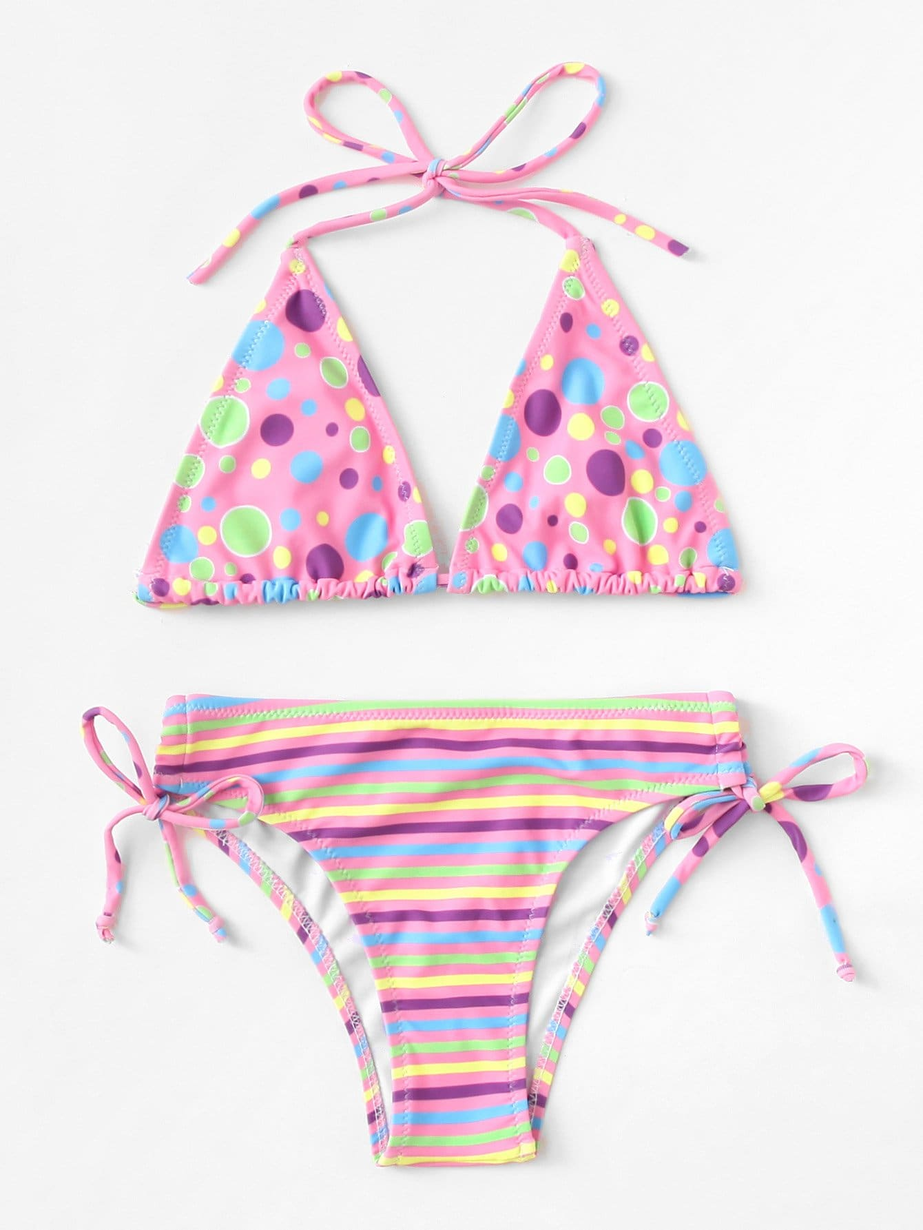Girls Striped & Polka Dot Bikini Set