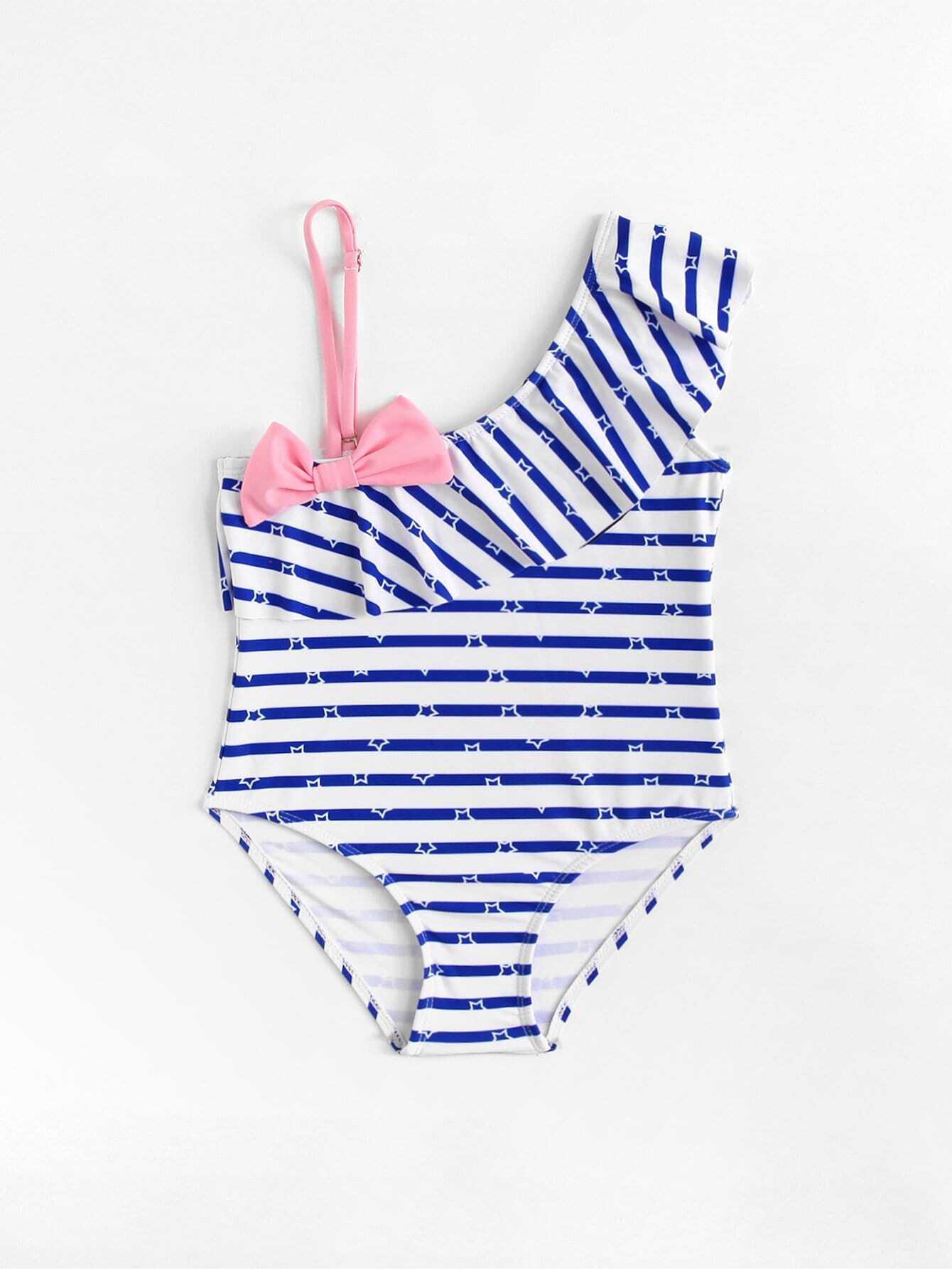 Купить Для девочек купальник в полоску с оборками, null, SheIn