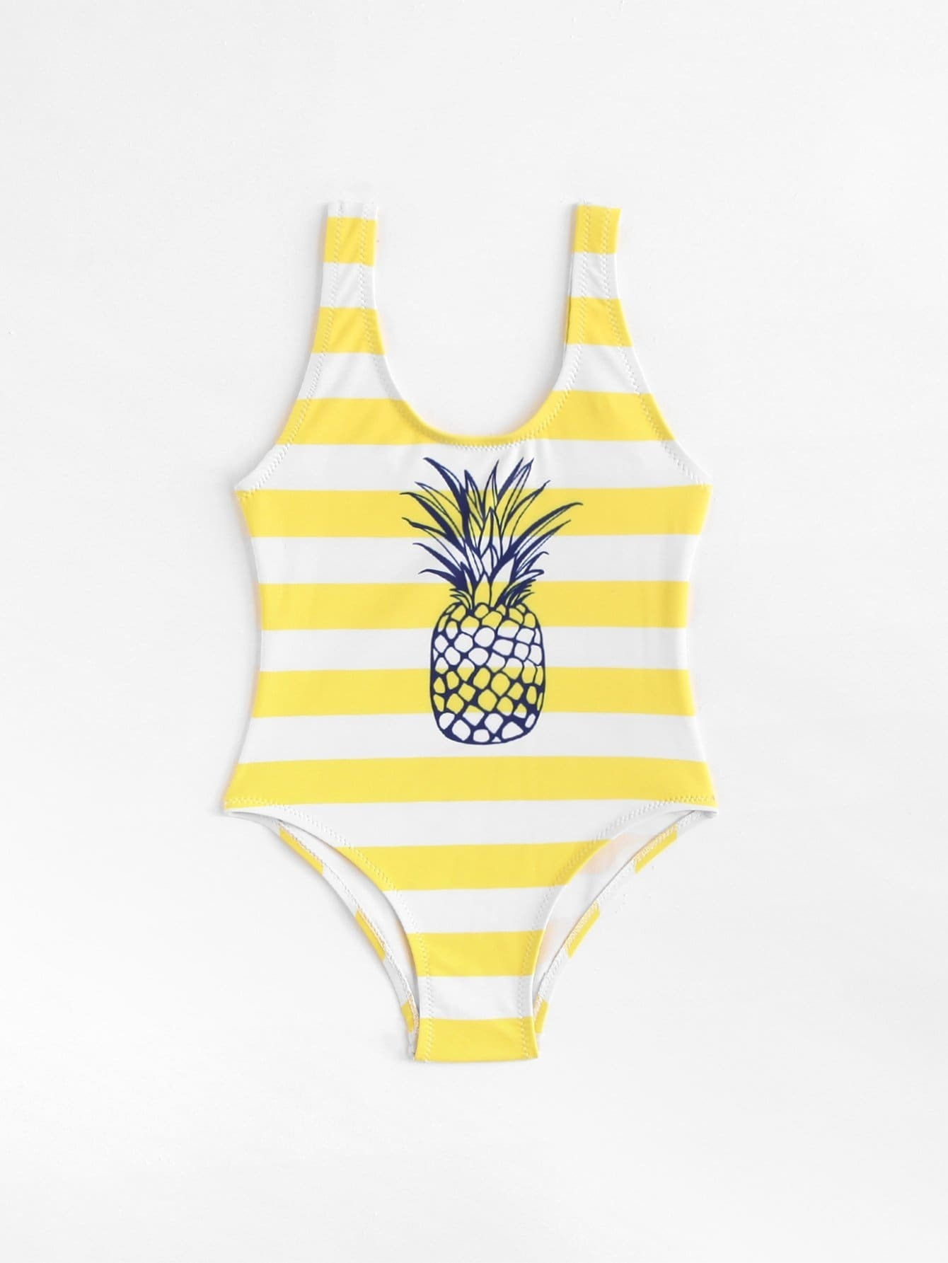 Girls Pineapple Print Striped Swimsuit колесные диски yamato sidzuoka v 2 y7225 7x17 5x105 et42 d56 6 wrw ep