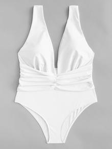Ruched Plain Swimsuit