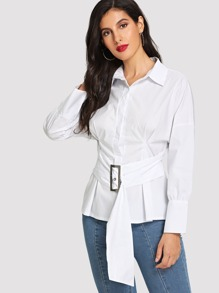 Drop Shoulder Shirt With Belt