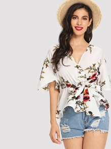 Bell Sleeve Surplice Wrap Floral Blouse