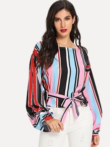 Split Sleeve Self Tie Stripe Blouse