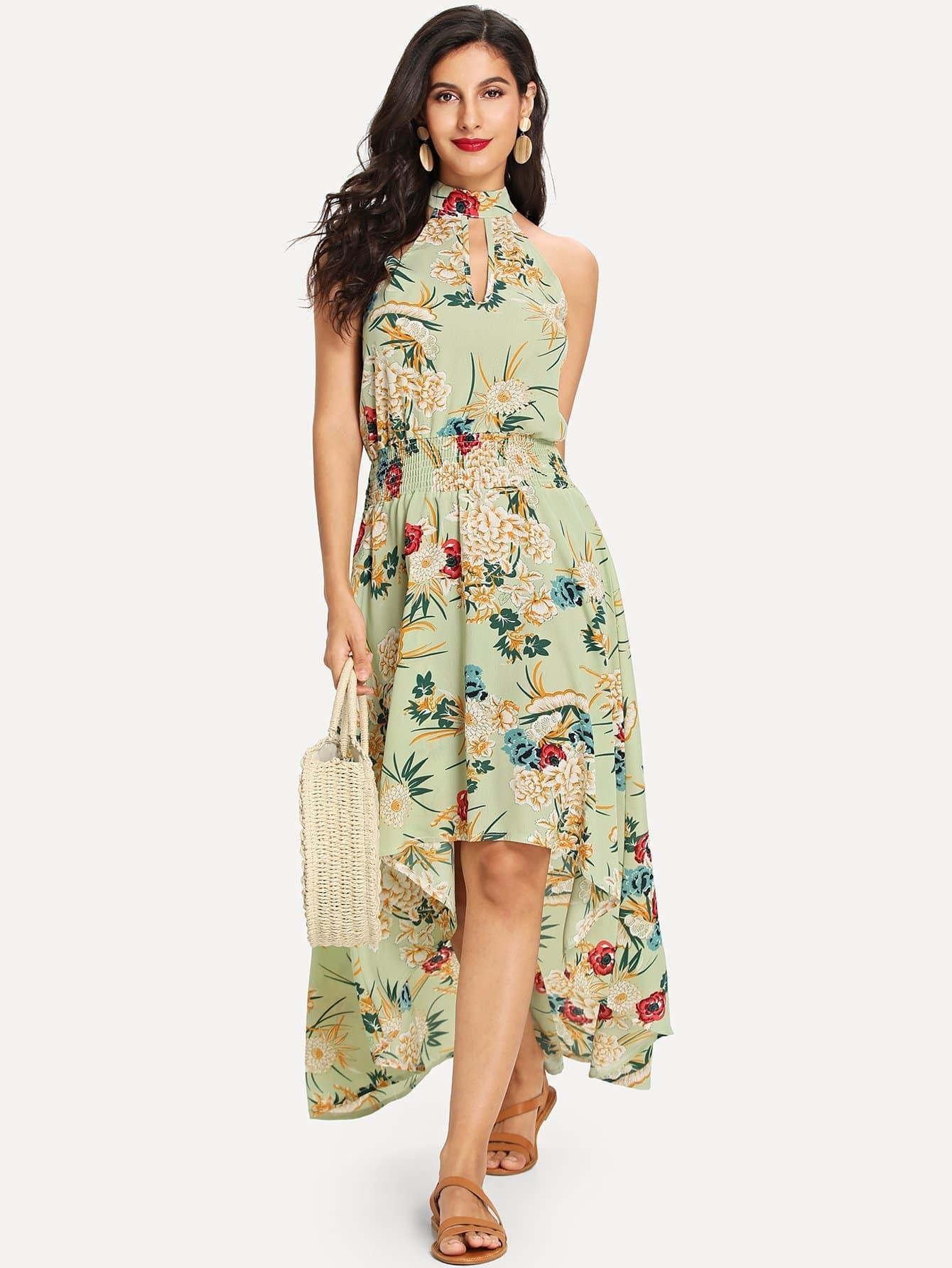 цена на Floral Tie Back High Low Dress