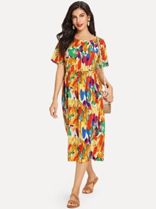 Feather Print Longline Dress