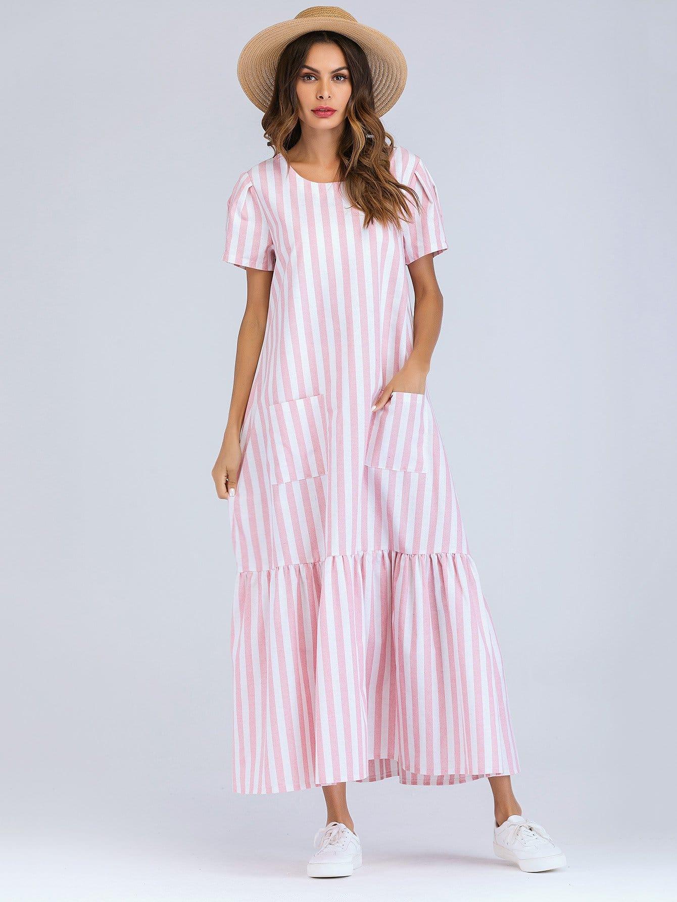 Купить Полосатое длинное платье с украшением двух кармана и подол с складками, Andy, SheIn