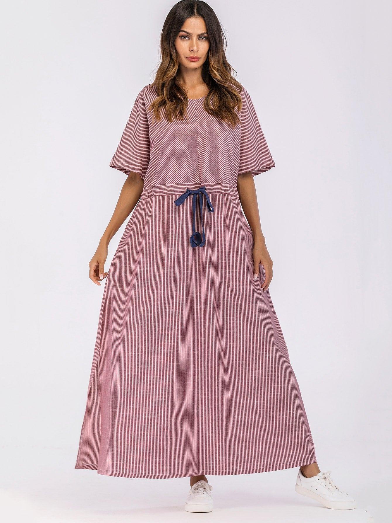 Купить Платье с украшением двух кармана и разрез с обеих сторон и с басономэластичным в талию, Andy, SheIn