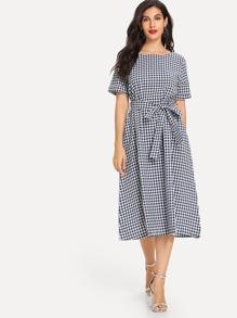 Tie Waist Gingham Dress
