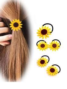 Sun Flower Decorated Hair Tie 5pcs