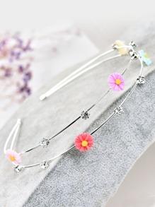 Flower Decorated Metal Headband