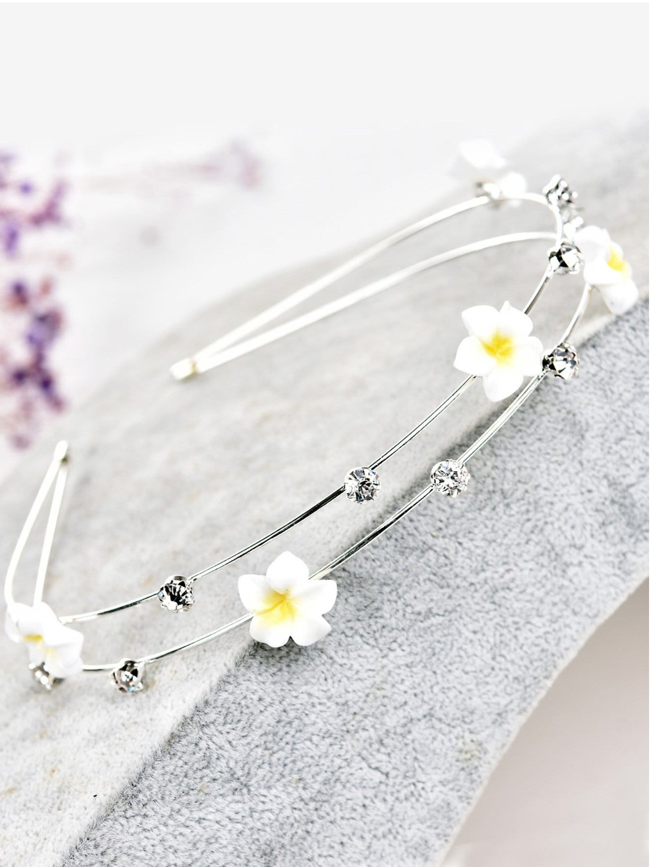 Flower Decorated Metal Headband