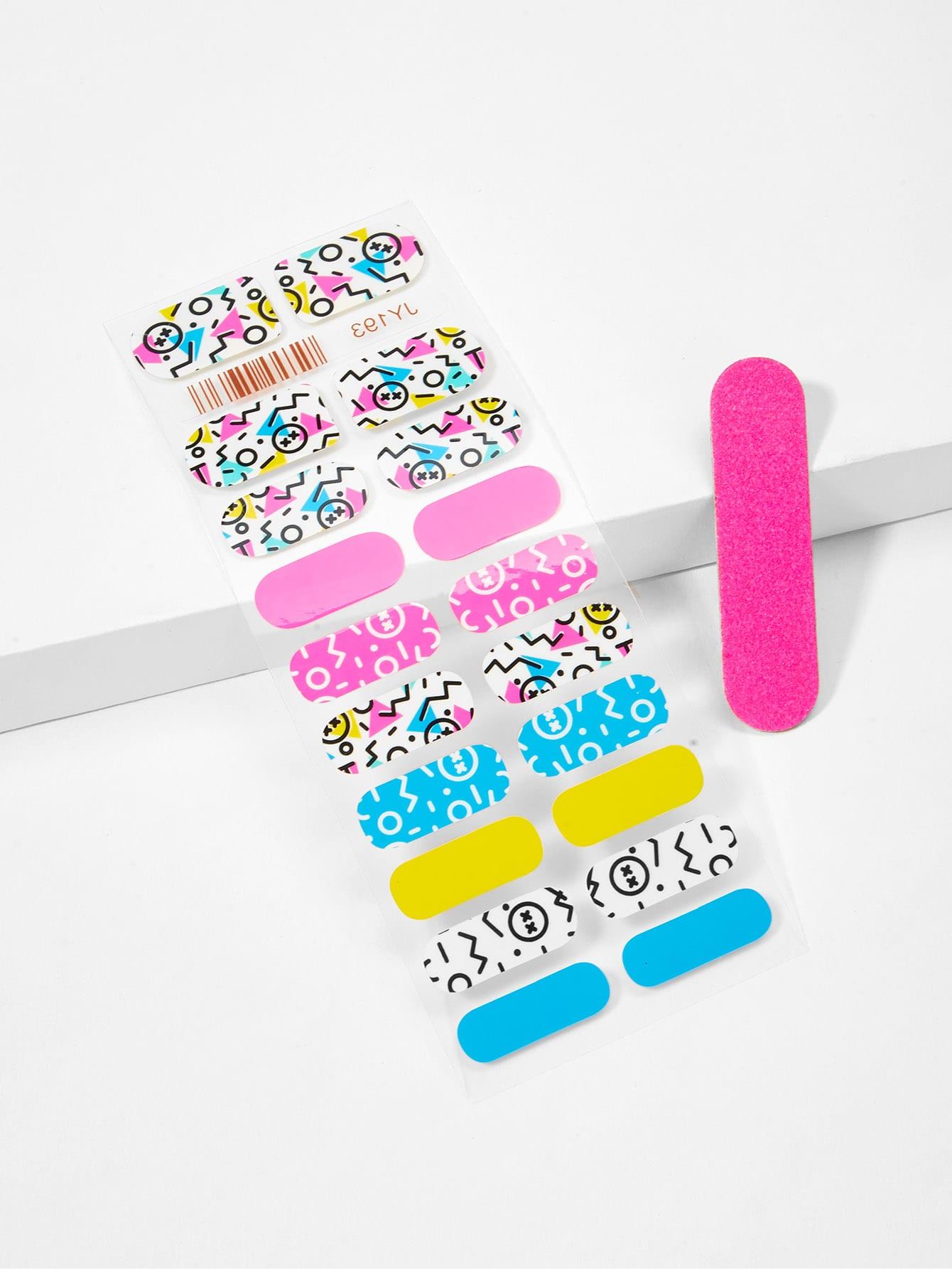 Купить Наклейка для ногтей с рисунками мультипликаций и пилочка для ногтей, null, SheIn