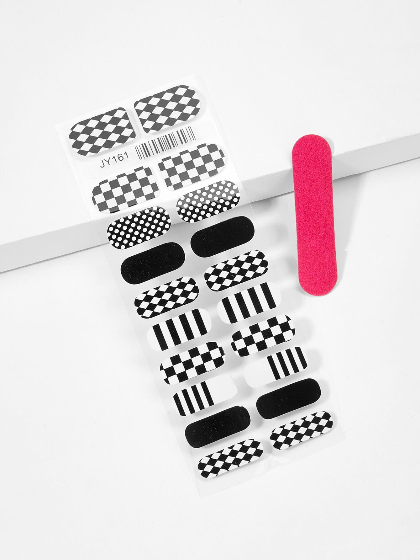 Checker Pattern Nail Sticker & Nail File