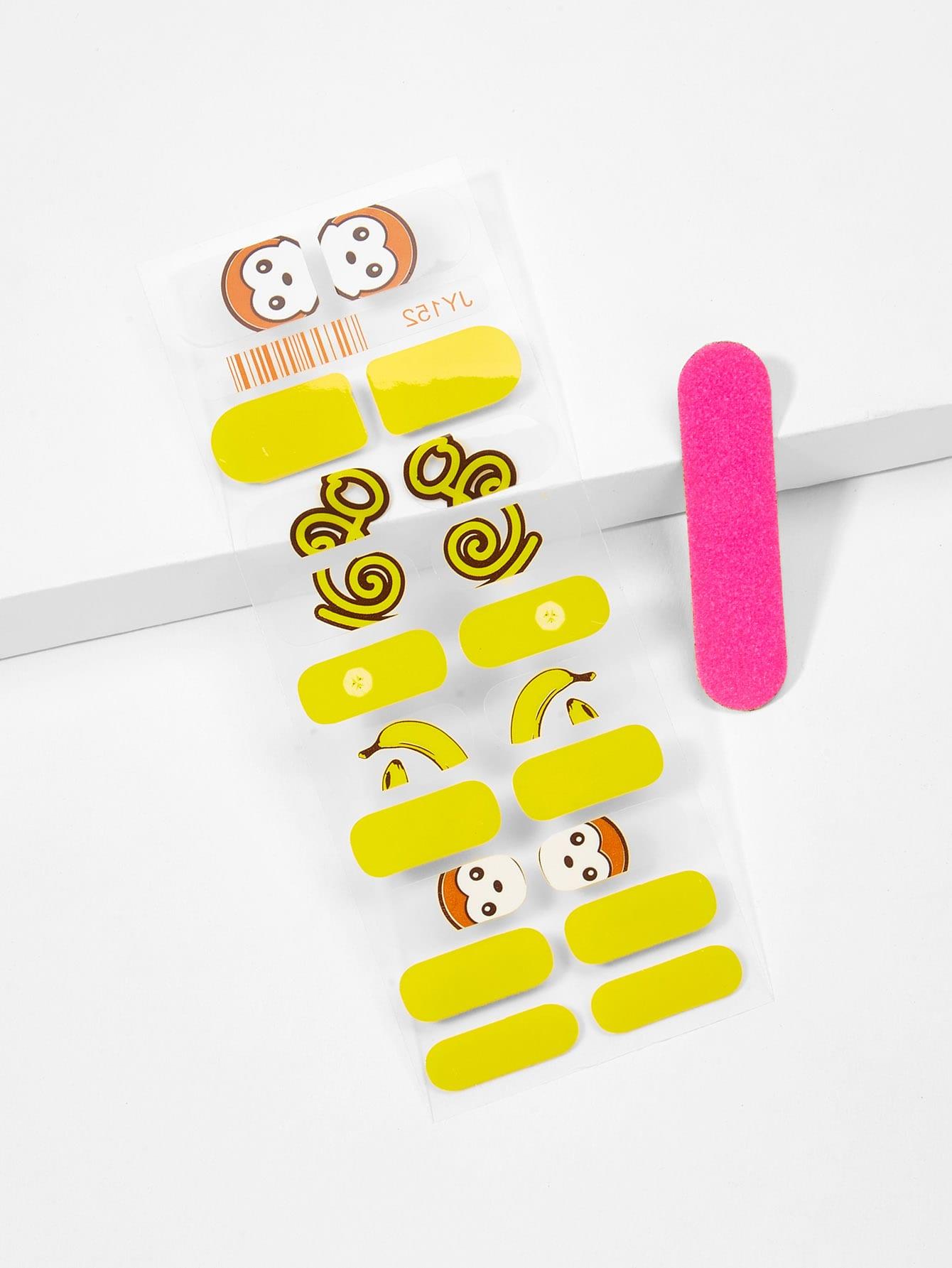 Купить Наклейка для ногтей с рисунками обезьян и пилочка для ногтей, null, SheIn