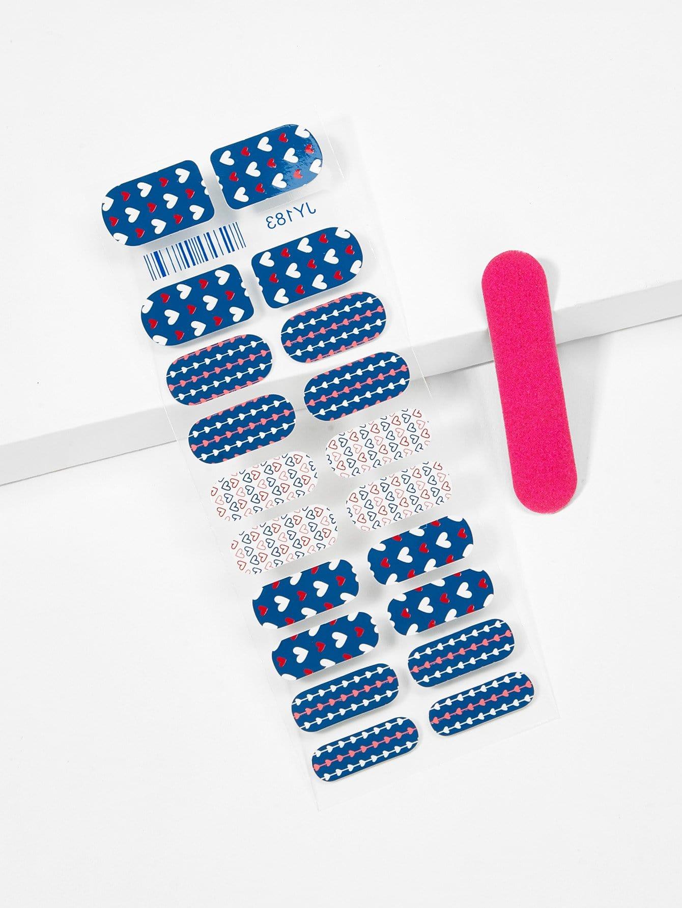 Купить Наклейка для ногтей с рисунками сердец и пилочка для ногтей, null, SheIn