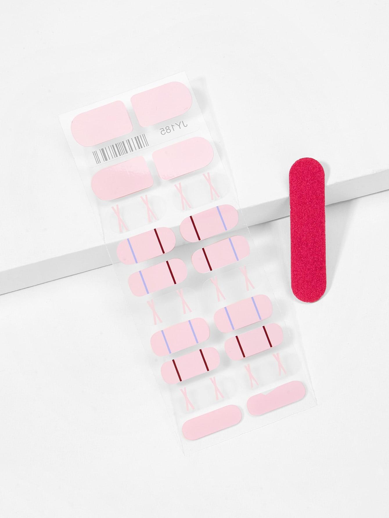 Купить Наклейка для ногтей с рисунками перекрестных линий и пилочка для ногтей, null, SheIn