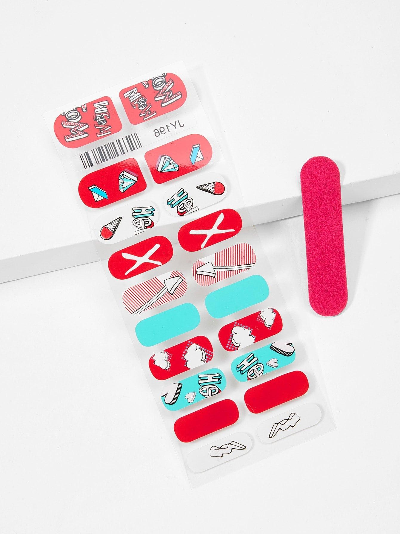 Купить Смешанная наклейка для ногтей и пилочка для ногтей, null, SheIn