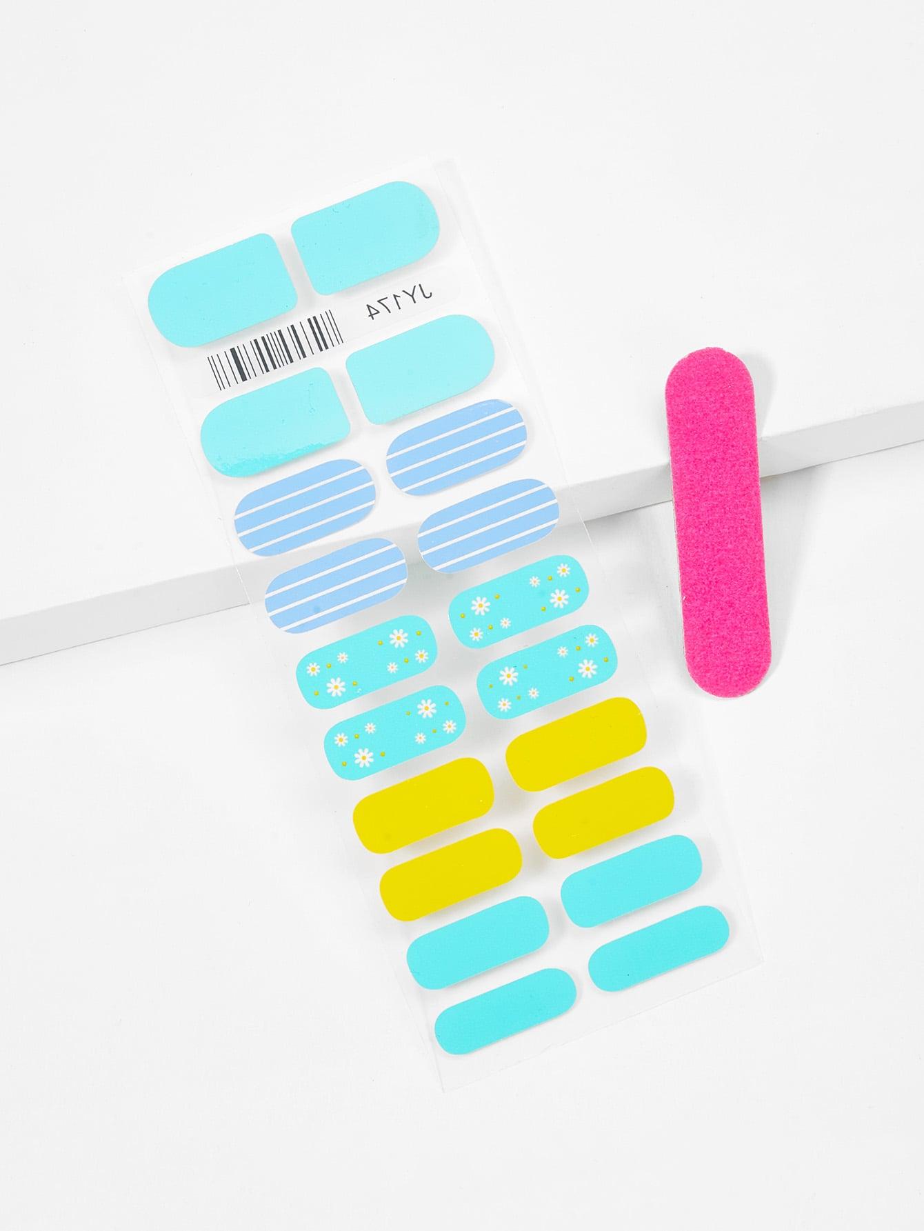 Ситцевая наклейка для ногтей и пилочка для ногтей, null, SheIn  - купить со скидкой