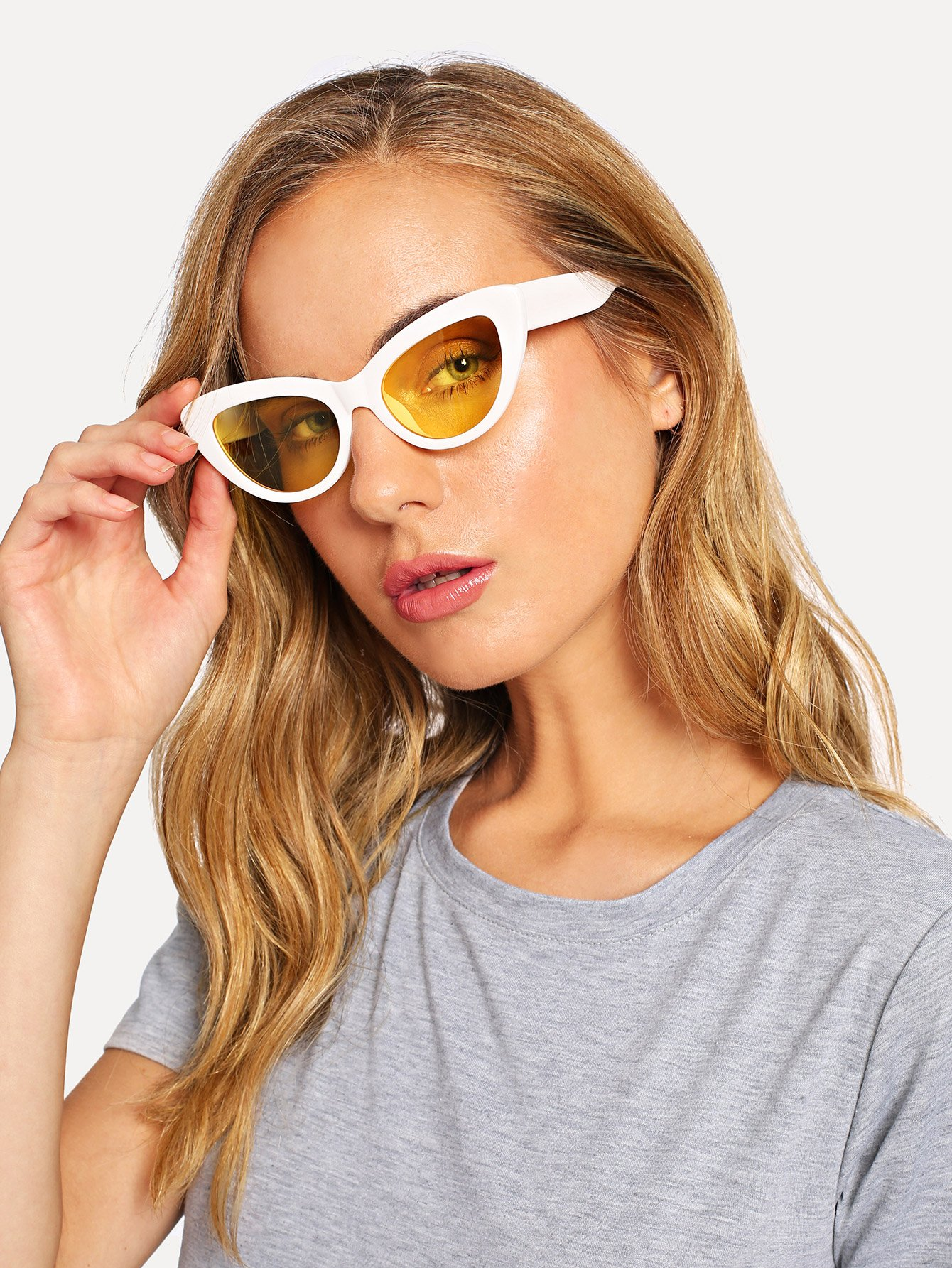 Contrast Frame Cat Eye Sunglasses cat eye glasses tinize 2015 tr90 5832