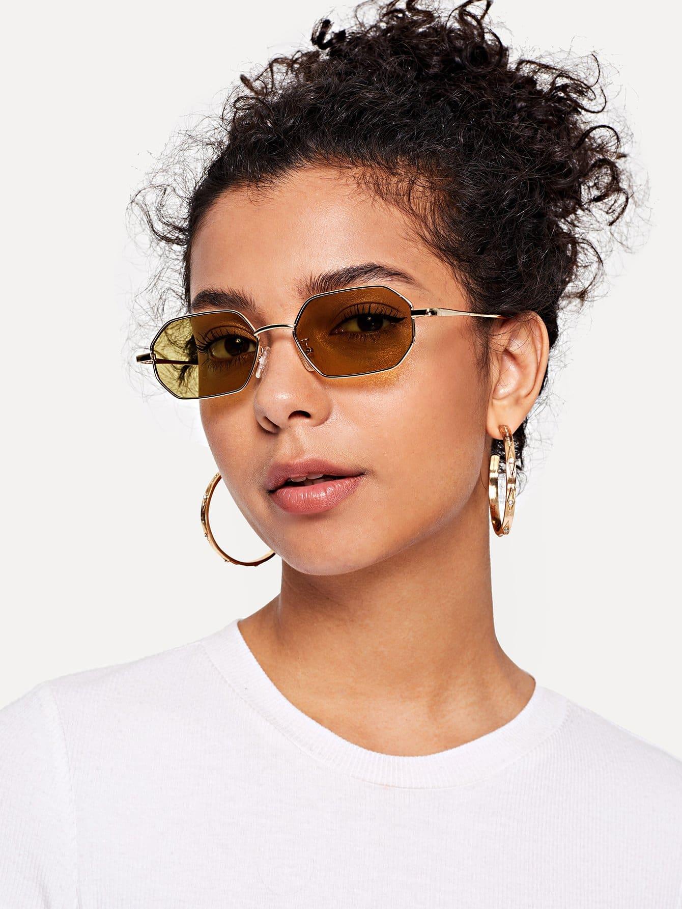 Купить Цветнве солнцезащитные очки с металлическами оправами, null, SheIn
