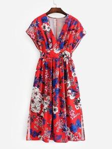 All Over Florals Slit Side Dress