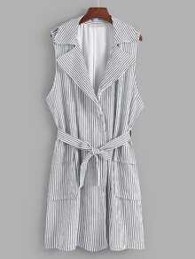 Vertical-Striped Self Tie Coat