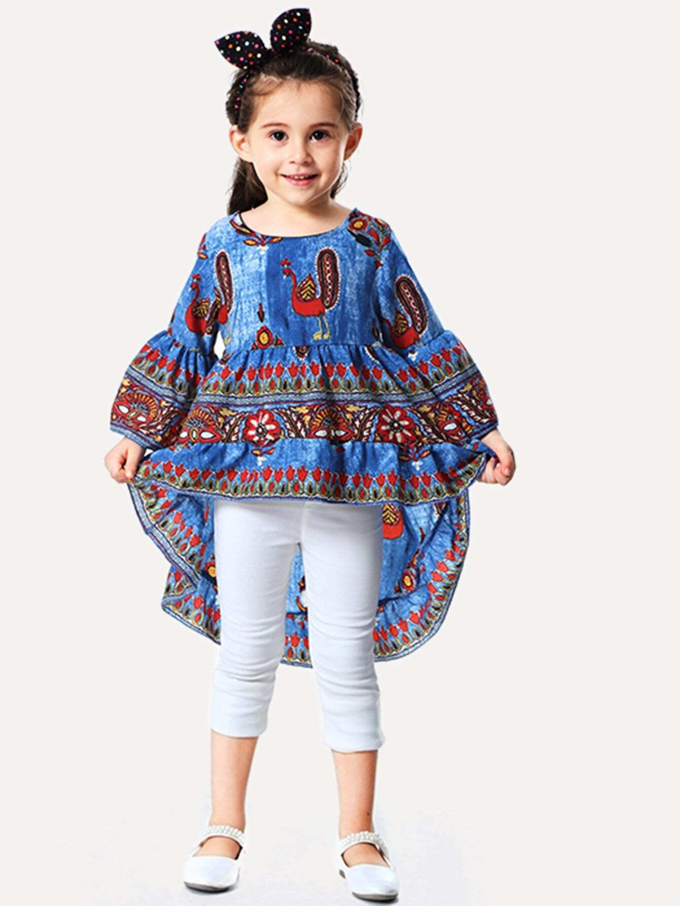 Girls Cartoon Print Dip Hem Blouse
