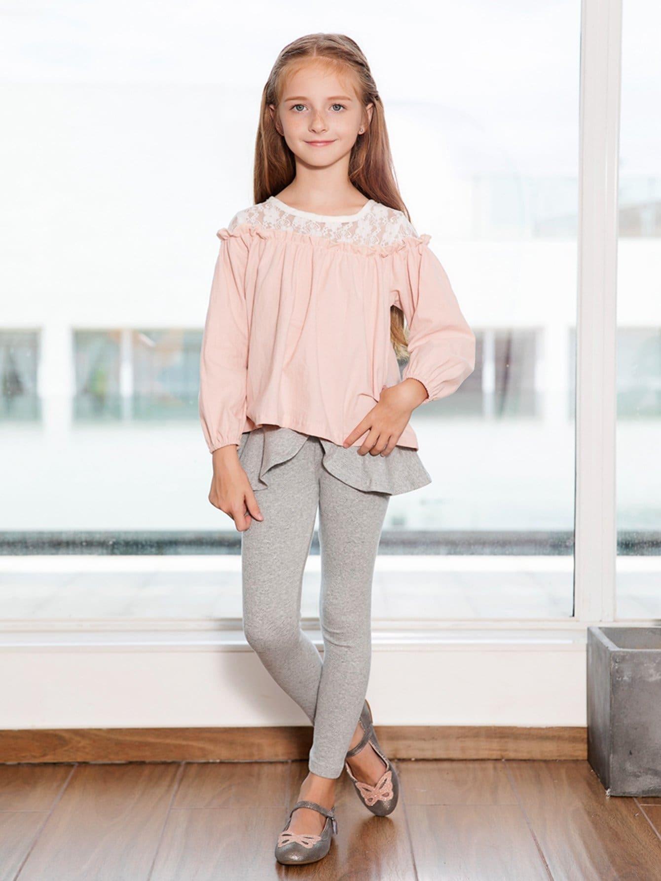 Girls Frill Trim Contrast Lace Blouse contrast lace wrap blouse