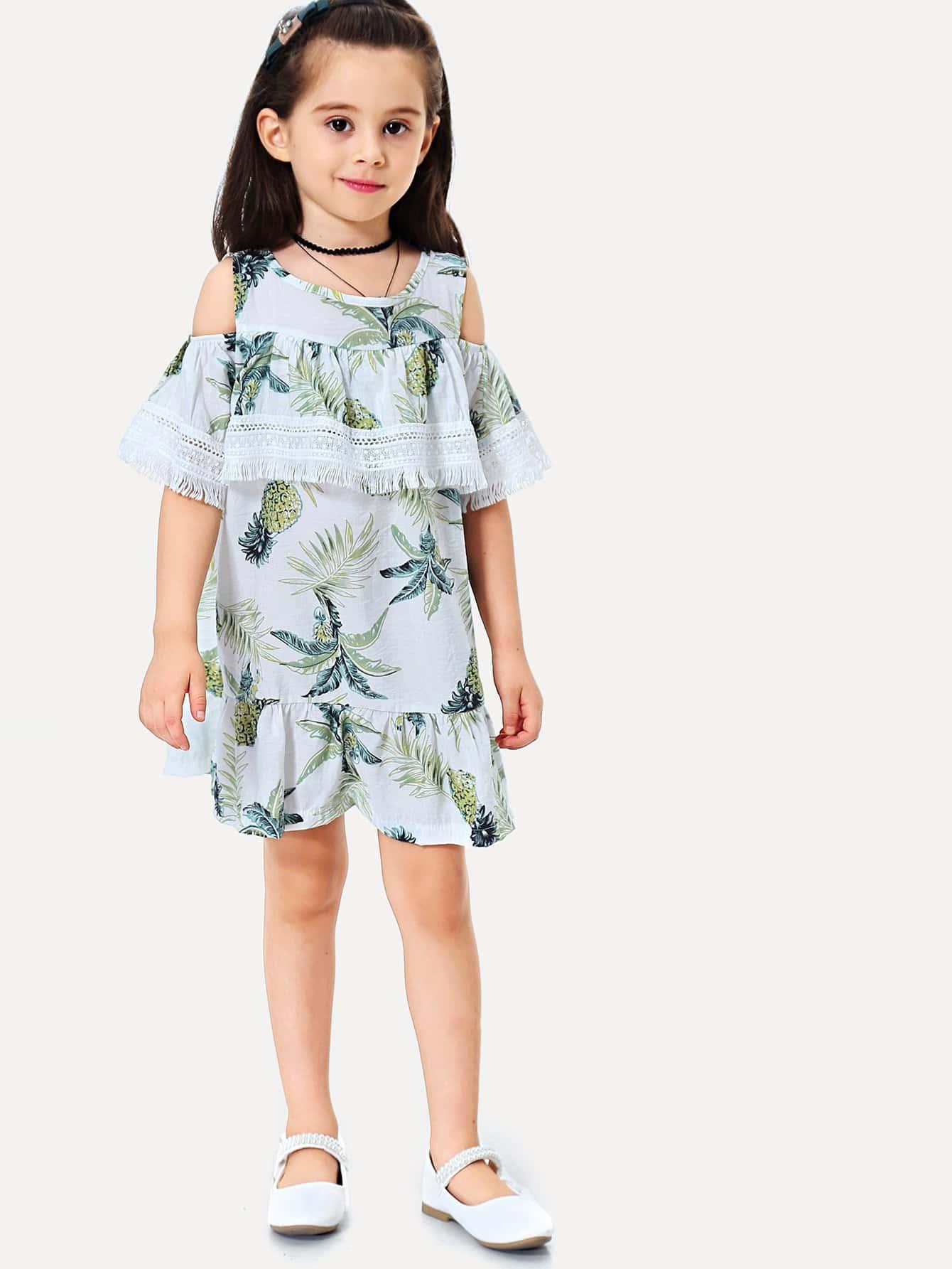 Купить Платье для девочек с вышивкой из ананаса для девочек, null, SheIn