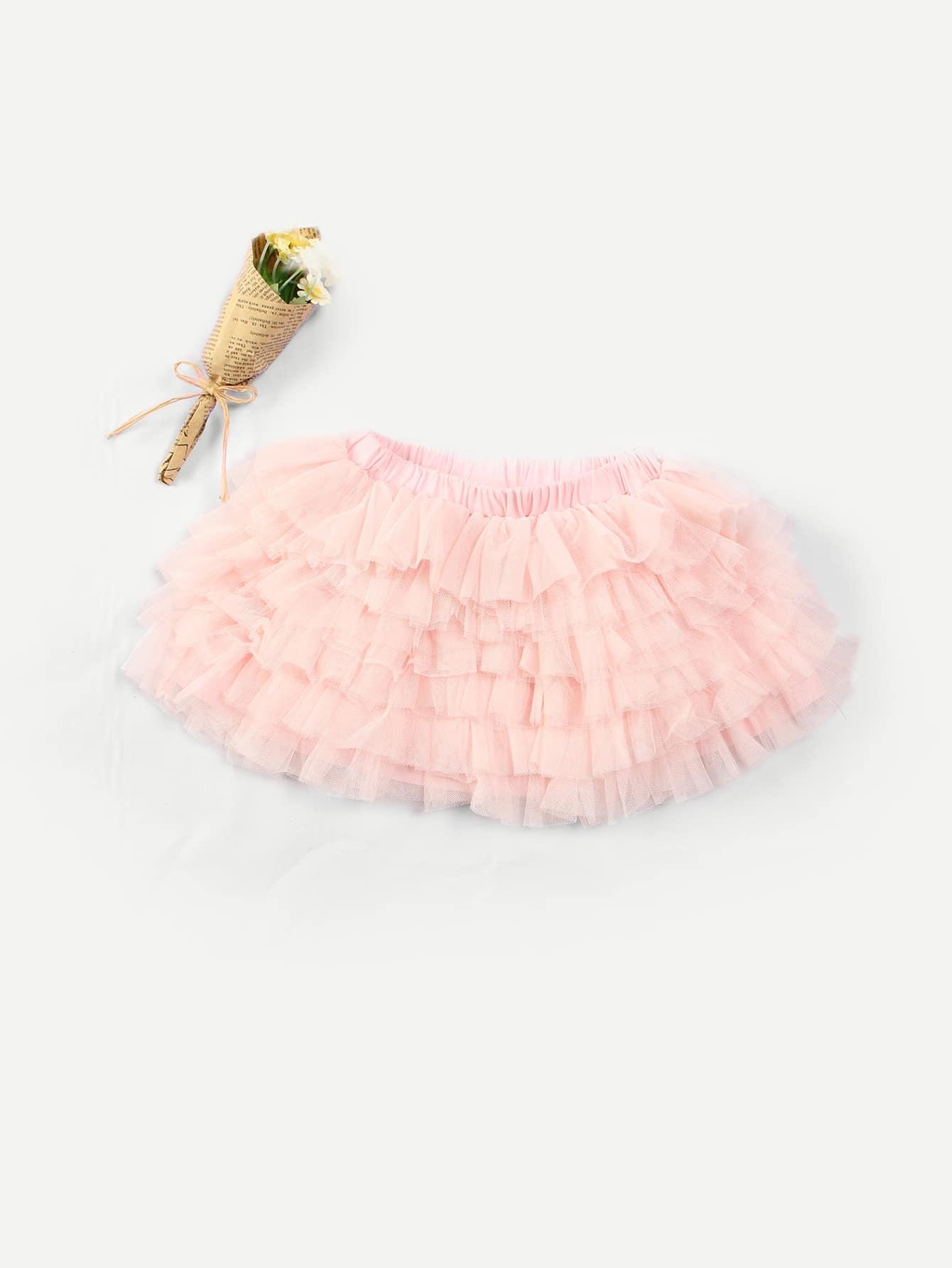 Girls Layered Solid Mesh Skirt layered organza skirt