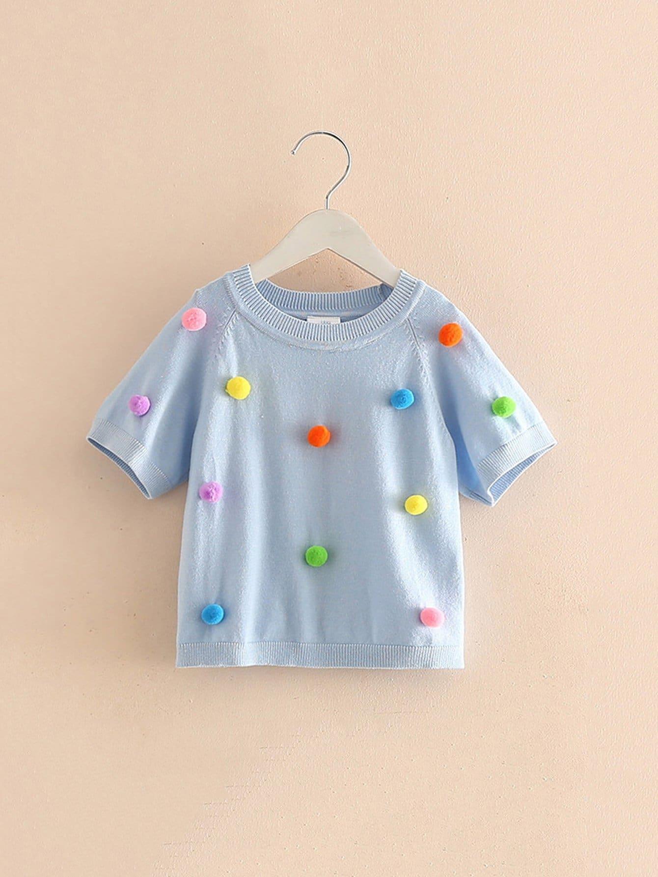 Girls Pom Pom Detail Sweater pom pom detail cami and shorts set