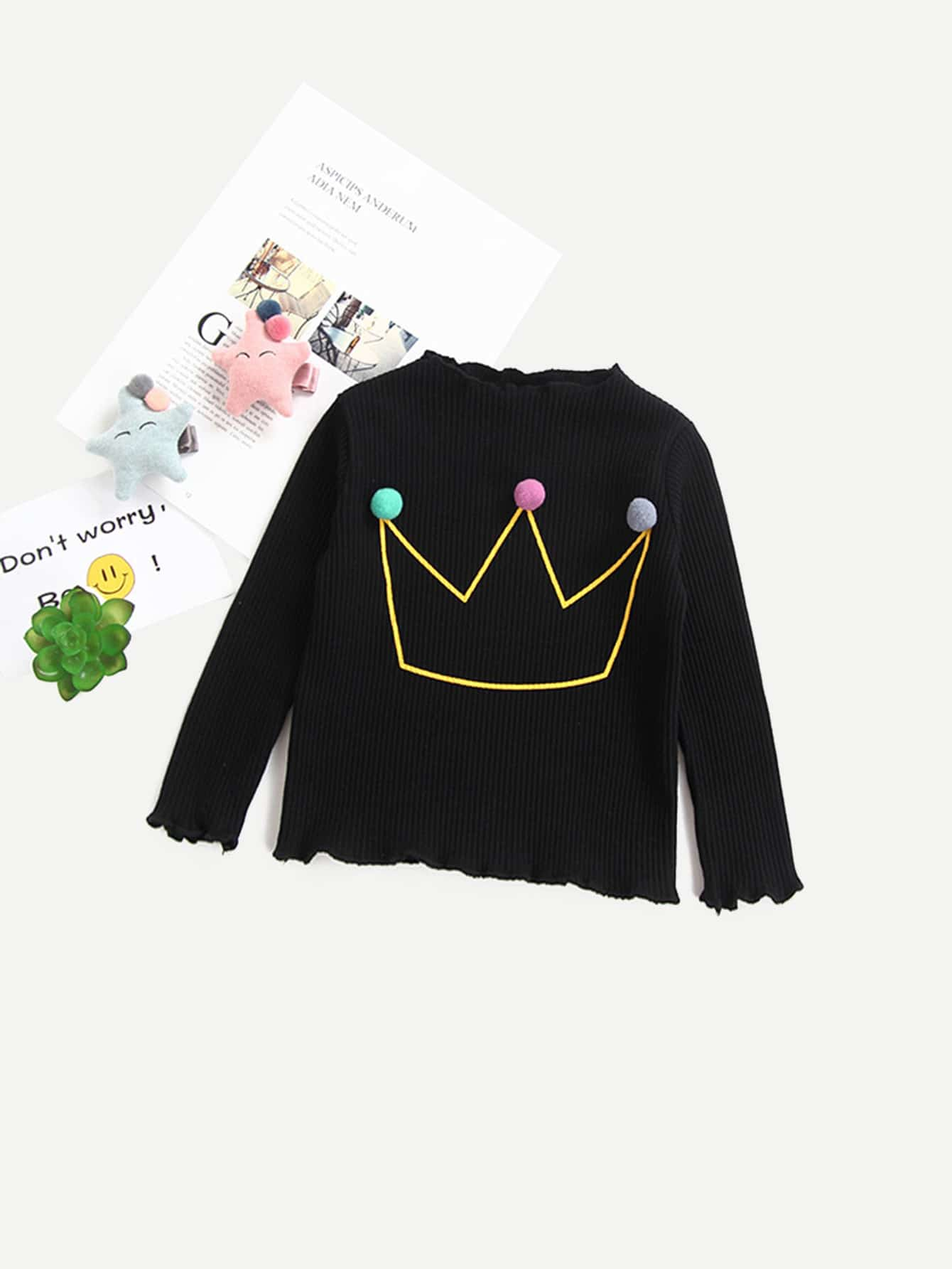 Girls Pom Pom Crown Print Rib Knit Trim T-shirt contrast frill trim rib knit t shirt