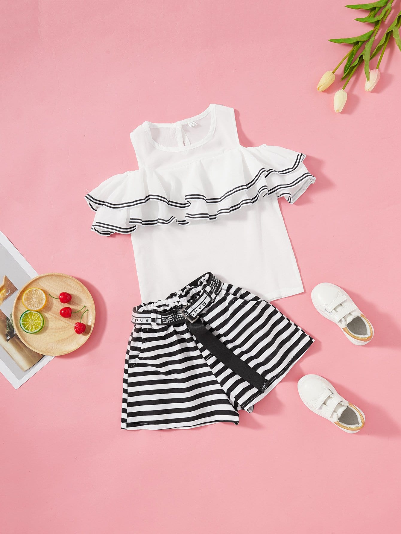 Girls Ruffle Trim Open Shoulder Top With Striped Shorts tie neck open back ruffle trim striped top