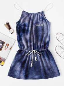 Drawstring Waist Tie Dye Halter Dress