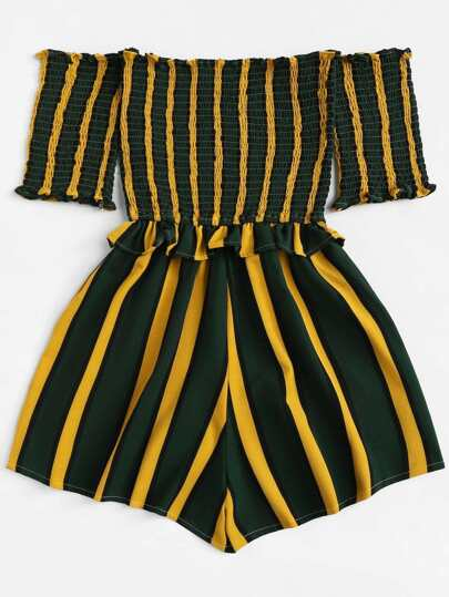 Romwe / Off Shoulder Frill Trim Striped Romper
