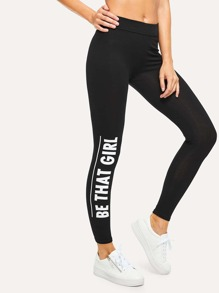 Letter Print Side Legging