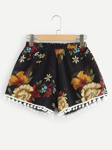 Pom Pom Trim Floral Shorts
