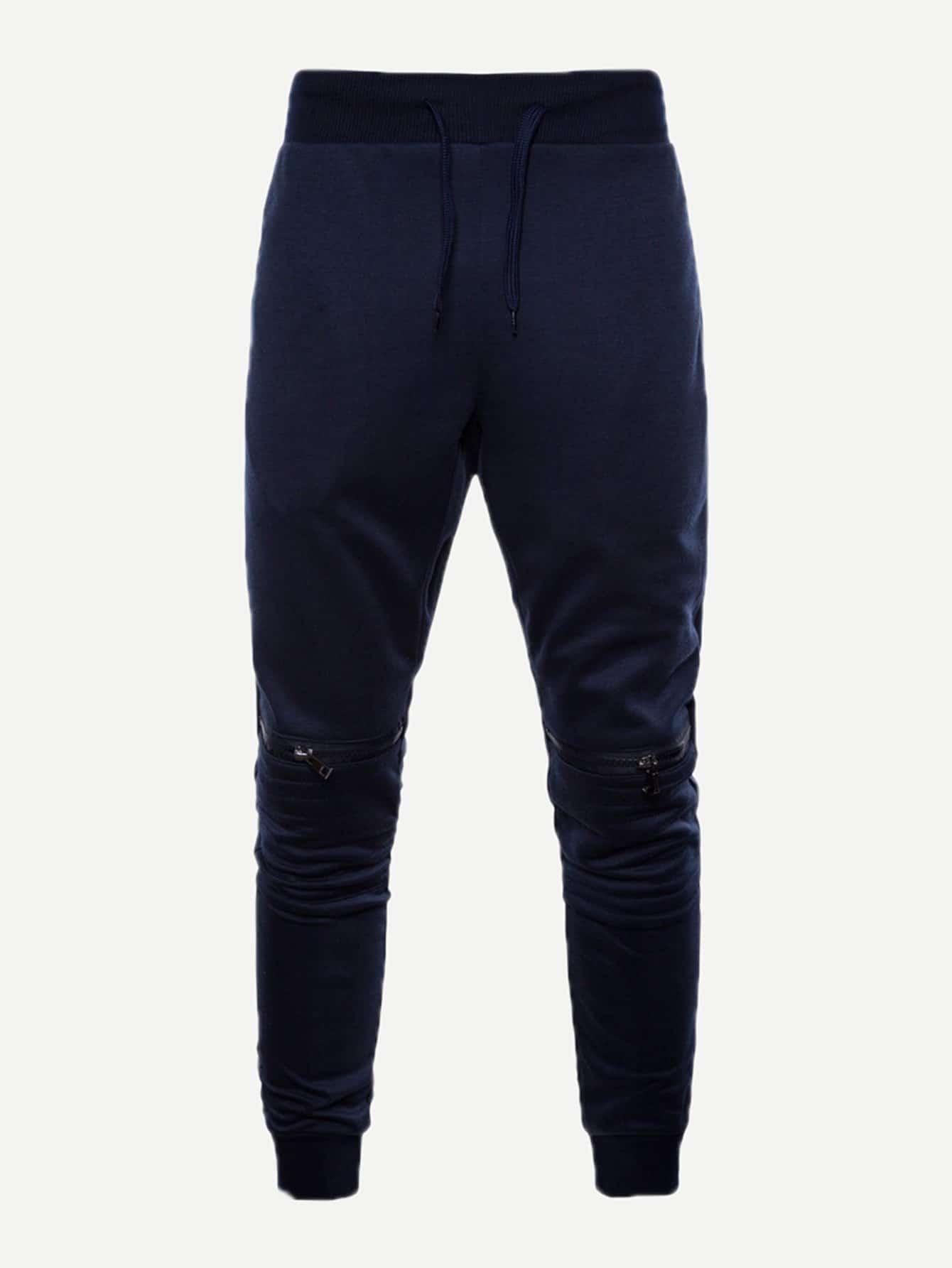 Купить Одноцветный Застежка Темно синий Мужские брюки, null, SheIn