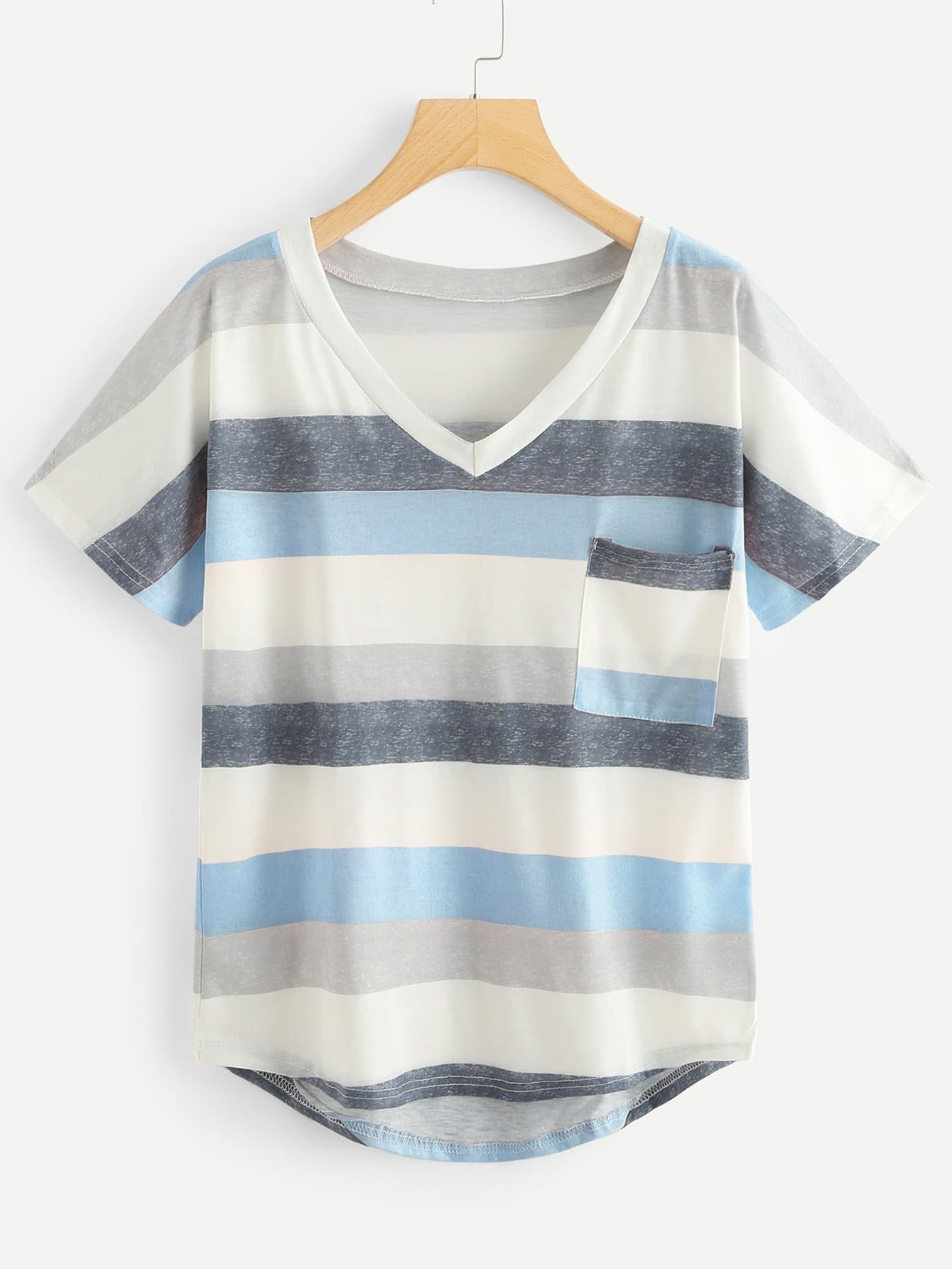 Pocket Patched Dip Hem Striped Tee pocket patched striped shell shirt