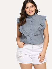 Plus Ruffle Trim Striped Single Breasted Blouse
