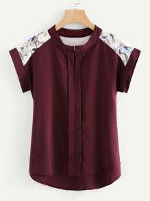 Plus Asymmetrical Contrast Mesh Blouse