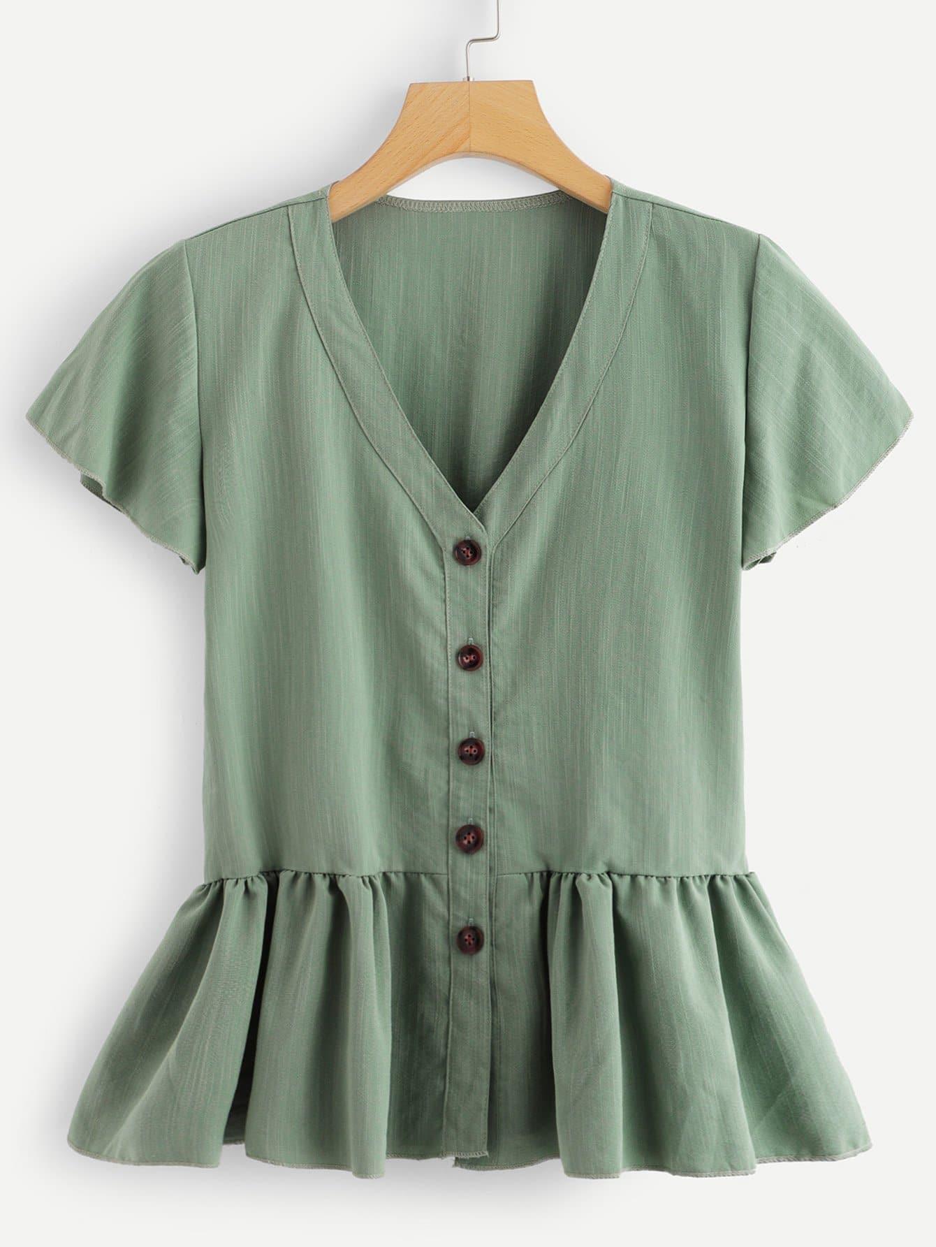Купить Повседневный Одноцветный Пуговица Зеленый Блузы+рубашки, null, SheIn