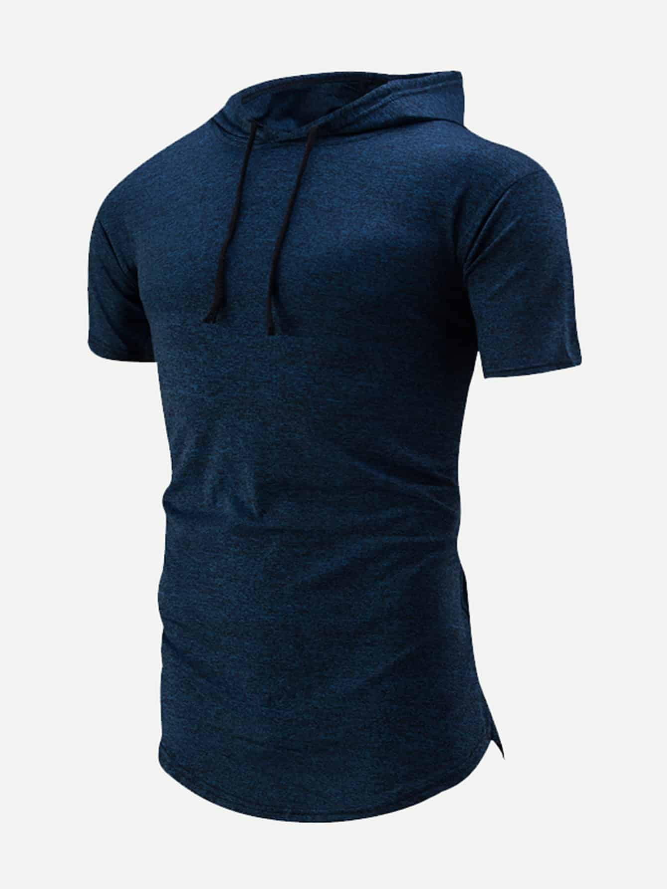 Купить Ровный цвет на кулиске Темно синий Мужские толстовки, null, SheIn