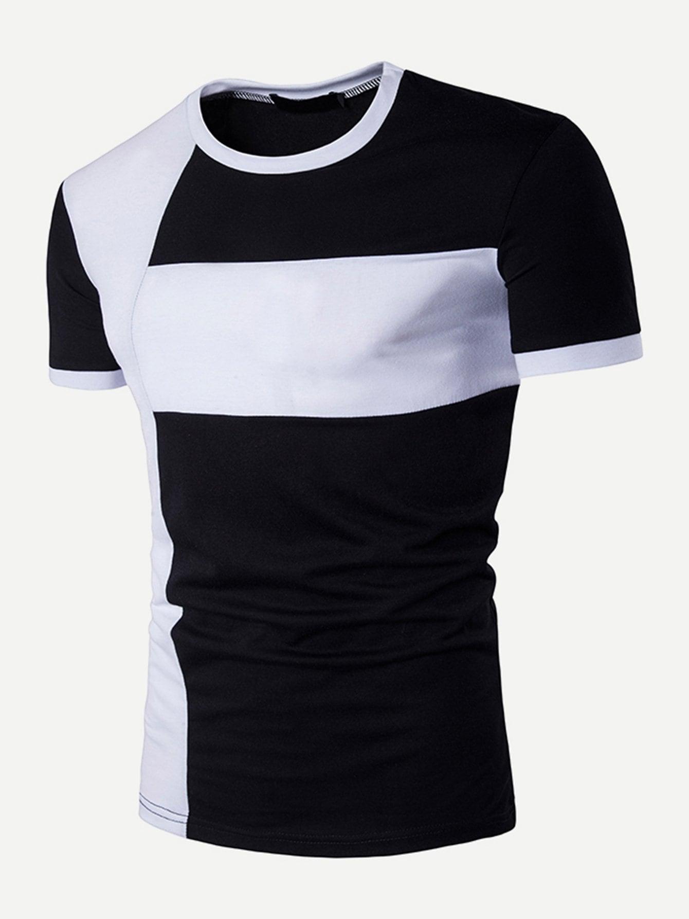 Купить Контрастный цвет Чёрнобелые Мужские футболки, null, SheIn