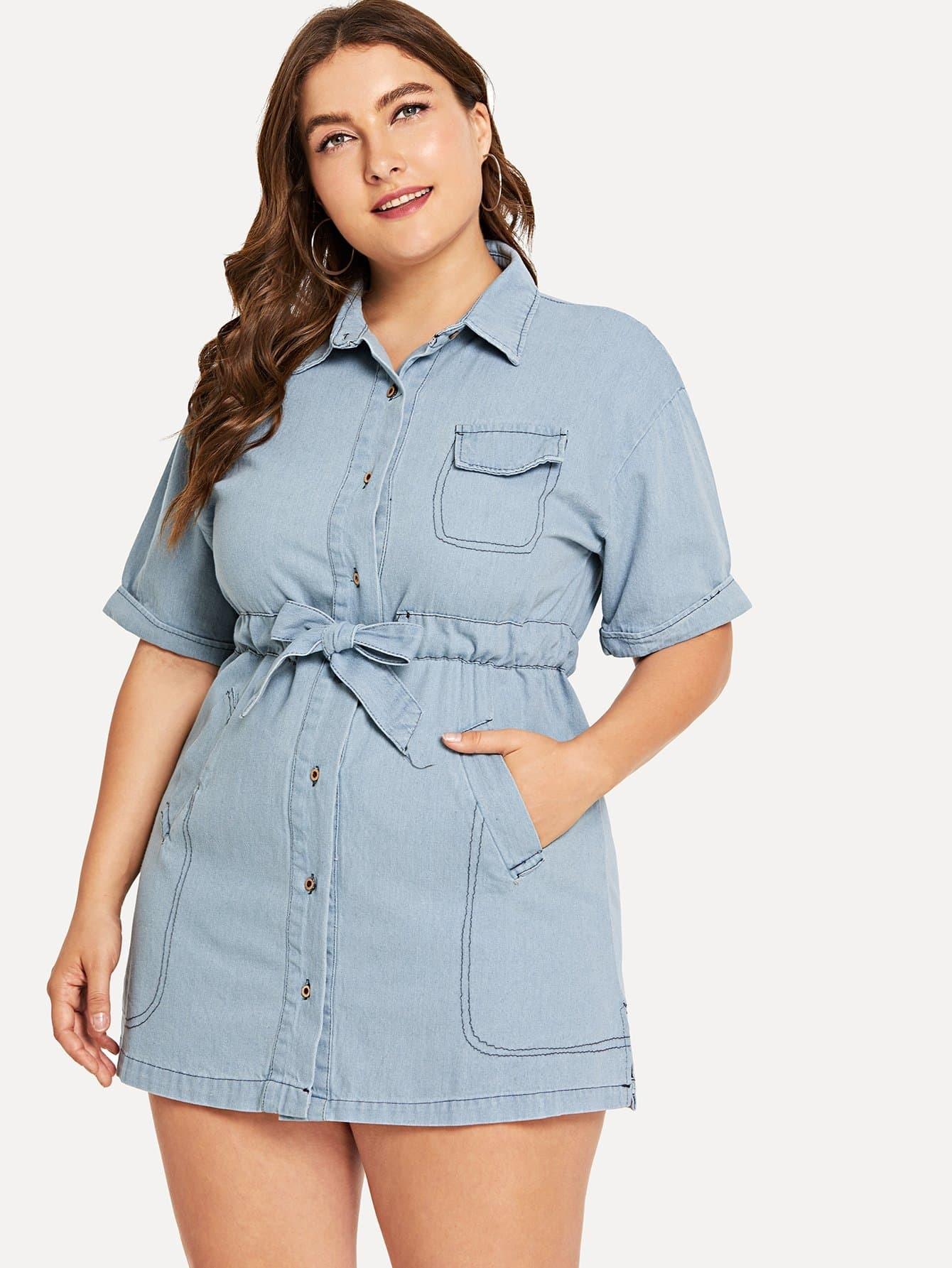 Plus Single Breasted Drawstring Pocket Dress