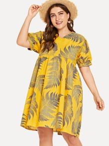 Plus Plant Print Puff Sleeve Dress