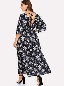 Plus Floral Print Cut Out Knot Back Dress
