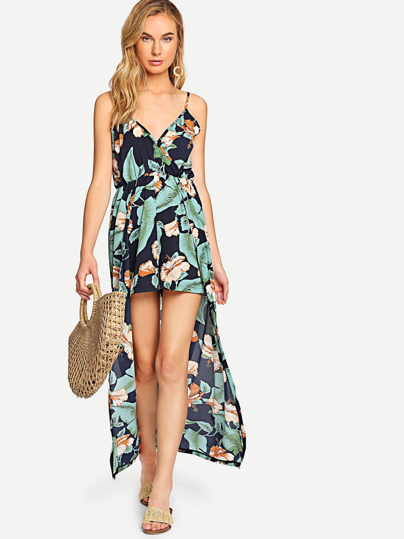 Tropical Print Dip Hem Dress c58